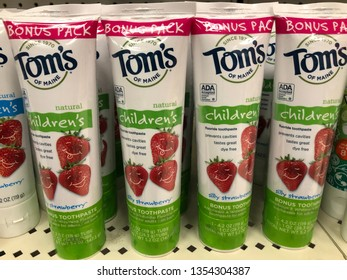 March 15, 2019 - Minneapolis, MN: Tom's of Maine Children's toothpaste on sale at a grocery store retailer shelf. Silly strawberry flavor