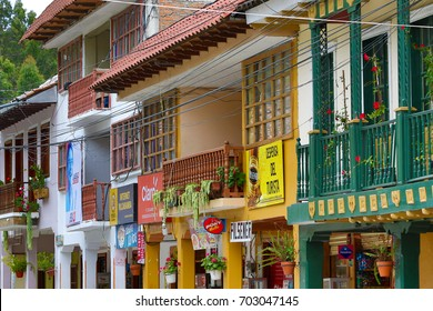 March 15,2017 Vilcabamba, Ecuador: storefront closeup of the colonial buildings of the center area of the  popular expat destination town