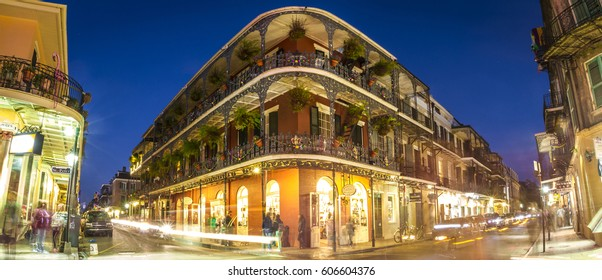 MARCH 16 2017, NEW ORLEANS, LA: Night streets and bars of French Quarter in New Orleans - one of the oldest and popular neighborhoods, the cradle of jazz and blues