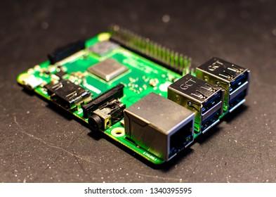 Kleszczów/Polska - March 16 2019: Close up of Raspberry Pi 3B+ ports