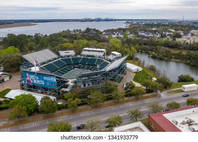 March 16, 2019 - Daniel Island, South Carolina, USA: Aerial views of the Volvo Car Open Stadium in Daniel Island, SC.