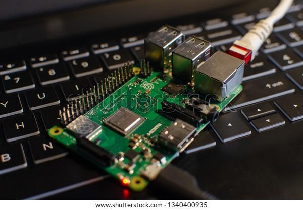 Kleszczów/Polska - March 16 2019: Raspberry Pi on laptop keyboard