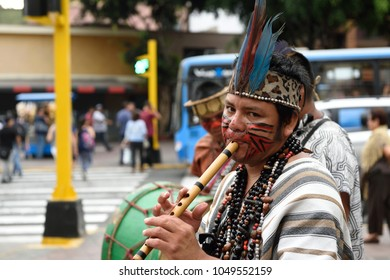 Lima,Perú, March 16,2018: Expoferia of Holy Week of Junín 2018, a fair where typical products of the area are exhibited, such as coffee, honey, maca, as well as drinks and typical foods, all this whil