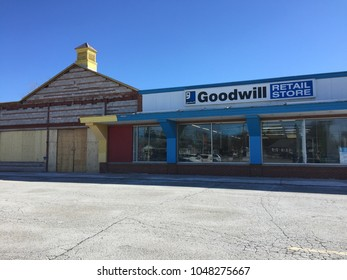 March 17 2018 - London Ontario Canada: editorial photo of a goodwill retail centre next to an abandoned building. Goodwill is a charity business that helps those in need.