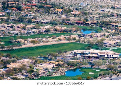 March 17, 2019 Palm Desert / CA / USA - Aerial view of Big Horn Resort and Golf Club in Coachella Valley