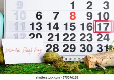 March 17 (World Sleep Day, dream) on the calendar