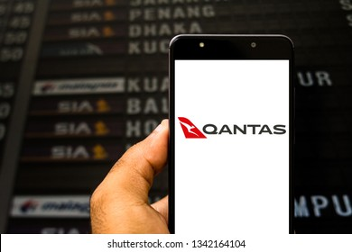 March 18, 2019, Brazil. Qantas Airways logo on the mobile device screen. Qantas is the largest airline in Australia, and the third oldest in the world.