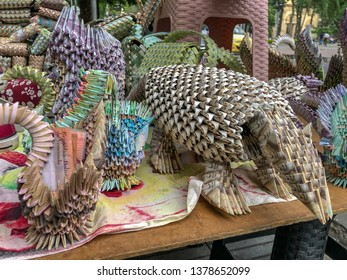 March 19, 2019- Cucuta/Colombia: Venezuela's devalued/hyper-inflated currency, the Bolivar, is used to create a decorative aardvark and pocketbooks, pictured here for sale in a Colombian border city.