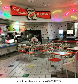 March 2 2017 - Bozeman, Montana: The interior of a Target Food Avenue Express still has its design from the 1990s.