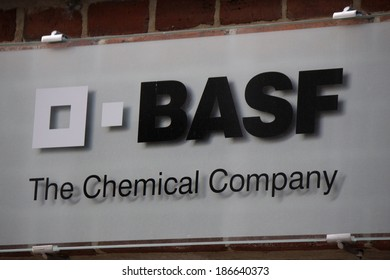 """MARCH 20, 2014 - BERLIN: the logo of the brand """"BASF Chemical Company"""", Berlin."""