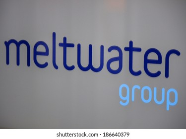 "MARCH 20, 2014 - BERLIN: the logo of the brand ""Meltwater Group"", Berlin."