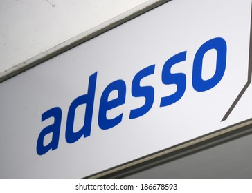 "MARCH 20, 2014 - BERLIN: the logo of the brand ""Adesso"", Berlin."