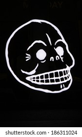 MARCH 20, 20154 - BERLIN: an electronic sign with a skull in a display window in Berlin.
