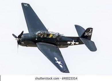 "March 20, 2016. Los Angeles County Air Show, California, USA. TBM-3E ""Avenger"" Torpedo Bomber Warplane"