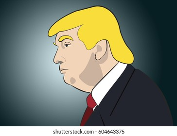 March 20, 2017: An illustration of a portrait of Donald Trump, the 45th President of USA