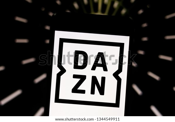 March 20, 2019, Brazil. DAZN logo on mobile device screen. DAZN is a streaming service dedicated exclusively to sports. It will be released in Brazil in 2019.