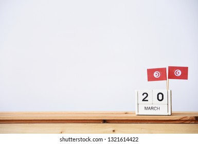 MARCH 20 Wooden calendar Concept independence day of Tunisia and Tunisia national day.space for your text
