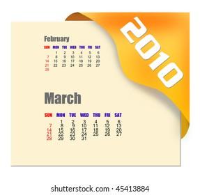 March of 2010 Calendar