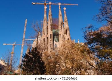 March 2012: Photo from iconic Sagrada Famiglia church designer by Gaudi, Barcelona, Spain