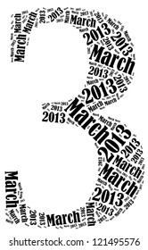 March 2013 info-text graphics arrangement on white background