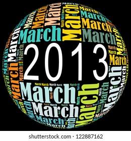 March 2013 info-text graphics arrangement on black background