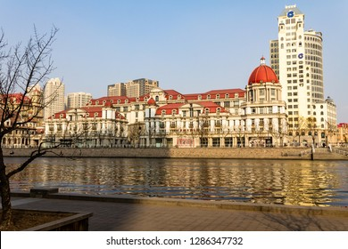 March 2014 - Tianjin, China - European style building along the Haihe river in the city center of Tianjin