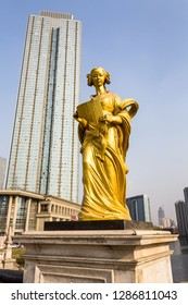 March 2014 - Tianjin, China - One of the many european style statues that adorn the bridges of Tianjin on the Haihe river