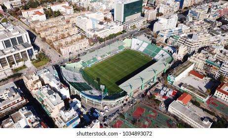 March 2015: Aerial drone bird's eye view photo of famous Panathinaikos or Apostolos Nikolaidis stadium in Alexandras Avenue, Athens, Attica, Greece