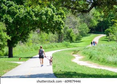 March 2017, Houston, Texas: People enjoying the Buffalo Bayou trails