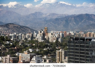 MARCH 2017, SANTIAGO CITY, CHILE: Uptown Santiago with Los Andes Mountain Range on the background