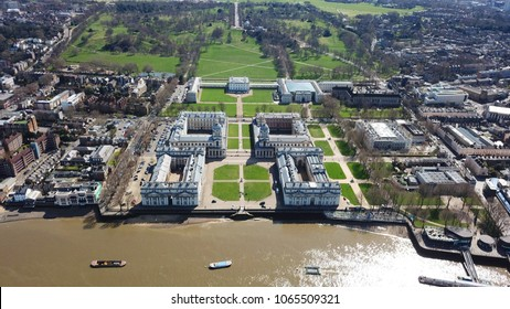 March 2018: Aerial bird's eye view photo taken by drone of iconic Greenwich University and Park of Greenwich, London, United Kingdom
