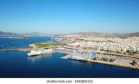 March 2018: Aerial drone bird's eye view of famous port of Piraias or Peiraeus one of the largest in Europe, Attica, Greece