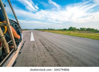 MARCH 2018 - BANGKOK, THAILAND: Ultralight Quicksilver GT500 aircraft prepares for take off from Best Ocean Airpark runway.