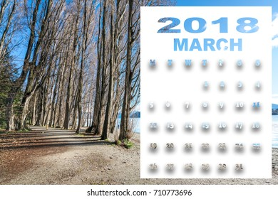 march 2018 calendar with beautiful landscape of new zealand