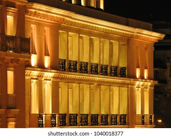 March 2018: Detail night shot of Syntagma square, Athens historic center, Attica, Greece