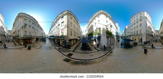 MARCH 2018 - LISBON: a 400 x 180 degree panorama: street scene, downtown Lisbon, Portugal.