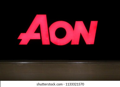 "MARCH 2018 - LISBON: the logo of the brand ""AON"", Lisbon, Portugal."
