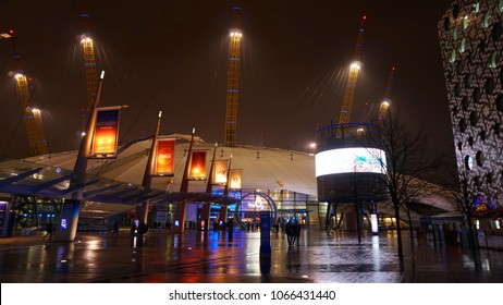March 2018: Night shot from famous O2 Arena at North Greenwich, London, United Kingdom