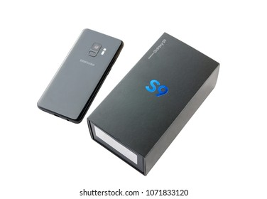 March 2018. Samsung Galaxy S9 close-up on a white background. A new smartphone from Samsung and a box from it is isolated on a white background.