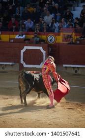 MARCH 2019 - CASTELLON, SPAIN: Bullfighter bullfighting a bull d