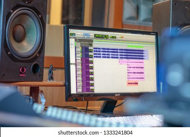 MARCH 2019 - CASTELLON, SPAIN: Computer in recording studio with Pro Tools software