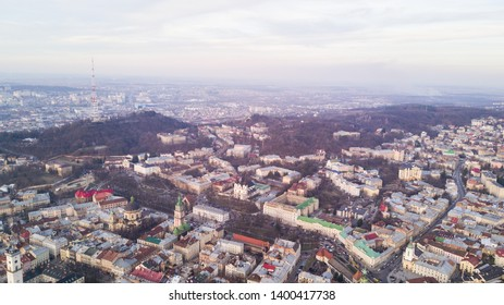 March, 2019 - Lviv, Ukraine: Top view from of the city hall on houses in Lviv, Ukraine. Lviv bird's-eye view. Lviv old town from above.