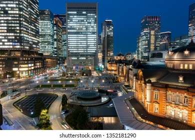 March 2019 - Tokyo, JAPAN: Beautiful night scene of Tokyo Station, the capital of Japan and the biggest and busiest terminal station in Japan.