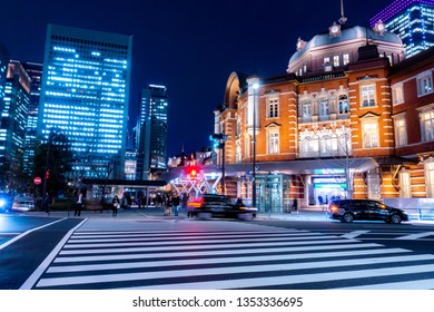 March 2019 - Tokyo, JAPAN: Beautiful night scene of Tokyo Station, the capital of Japan and the biggest and busiest terminal station in Japan in front of crossroad at Marunouchi Area.