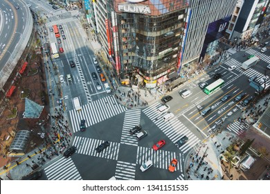 March 2019 - Tokyo, JAPAN: Cityscape of Ginza District. Ginza is a big district in Tokyo which offers high end retail shopping, famous among tourists.