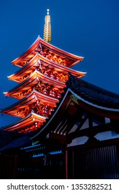 March 2019 - Tokyo, JAPAN: Five storey pagoda at Sensoji Temple at Asakusa, Japan. This pagoda one of the most famous in Japan. Its height is 53.32 meter, about the height of an 18-storey building.