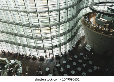 March 2019 - Tokyo, JAPAN: The modern interior design of National Art Museum in Minato District, Tokyo. The architect for the museum was Kisho Kurokawa.