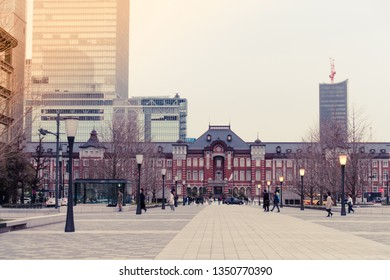 March 2019 - Tokyo, JAPAN: A view of Gyoko-dori Avenue leading ahead to Tokyo Station, the biggest railway station in Japan in nostalgic mode, during dusk in evening.