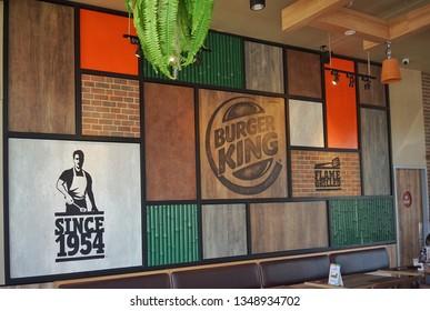 March ,2019  : wall designed very beautiful and vintage at burgerking at central store,Bangkok,Thailand