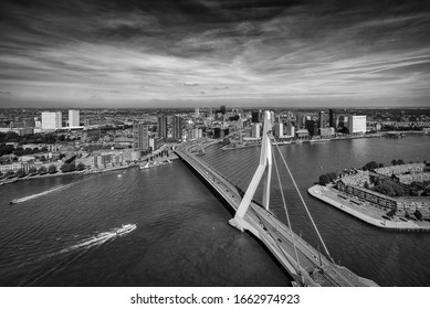 March 2020, view of the city Rotterdam in the Netherlands - Erasmusbrug in black and white
